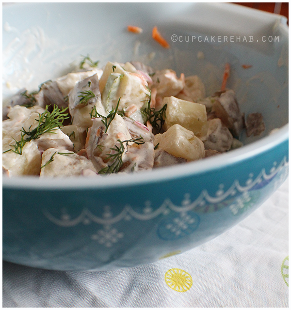 Rich, creamy potato salad made with sour cream AND mayo!