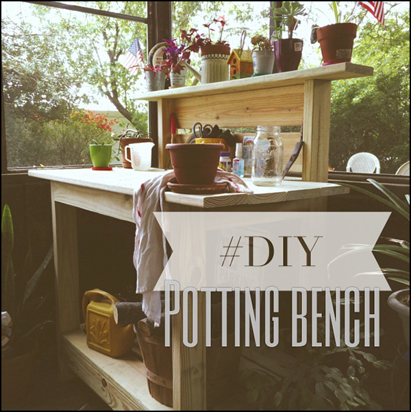DIY potting bench using a Kreg jig (link for instructions).