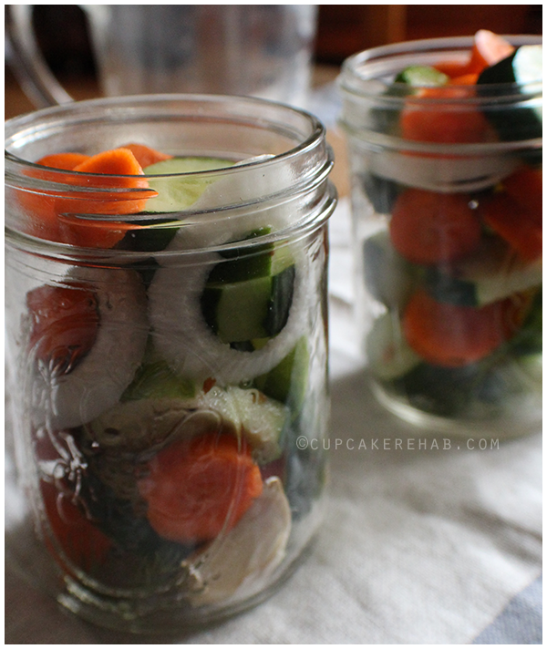 Quick pickles made with cucumbers, carrots & onion.