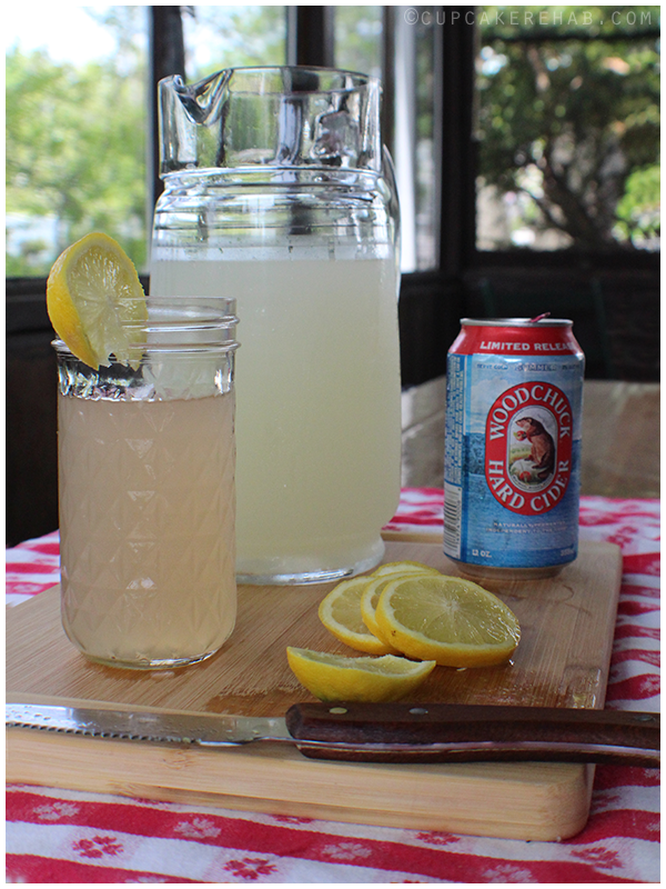 A simple summer shandy made from Woodchuck Hard Cider's summer edition & lemonade.