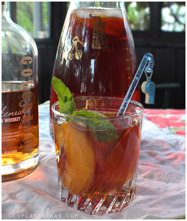 Bourbon peach summer sweet tea- basically peach iced tea with bourbon!