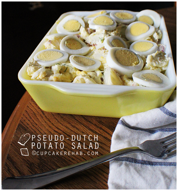 Pseudo-Dutch potato salad: a.k.a. potato salad with hardboiled eggs, pickles & bacon (optional).