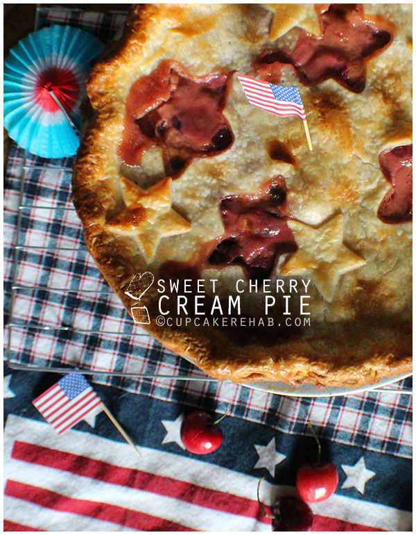 Sweet cherry cream pie for the fourth of July.