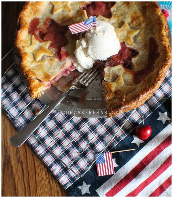 Sweet cherry cream pie with coconut milk vanilla bean ice cream!