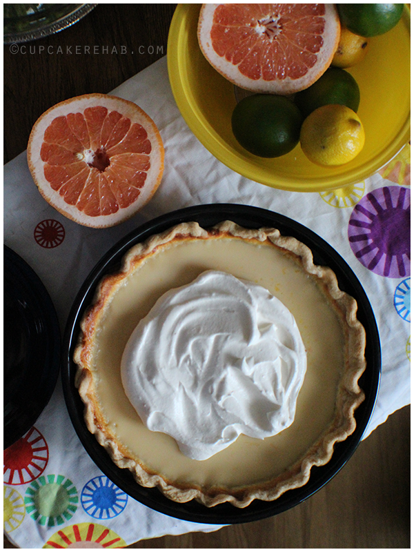 Ruby red grapefruit pie with grapefruit scented whipped cream.