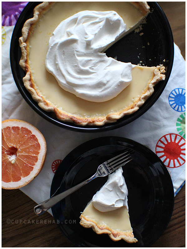 A delicious and simple 3-ingredient Ruby Red grapefruit pie with grapefruit scented whipped cream.