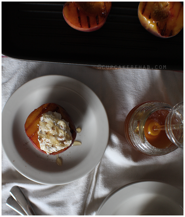 Grilled peaches with ricotta cream & honey.