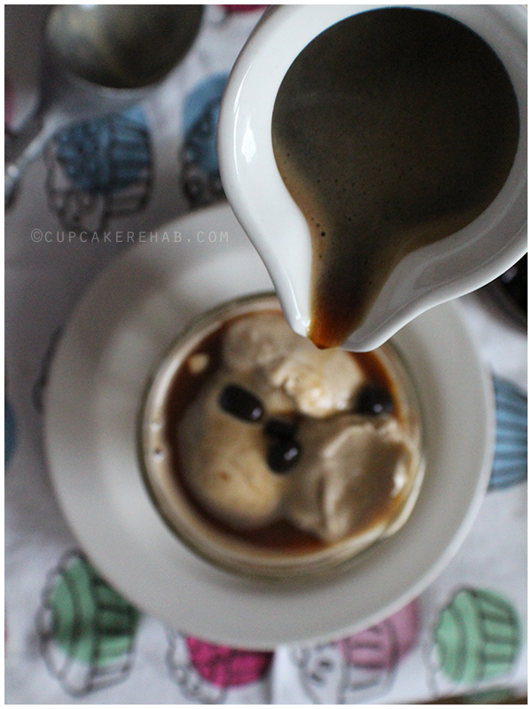 Peanut butter affogato with dark chocolate covered espresso beans.