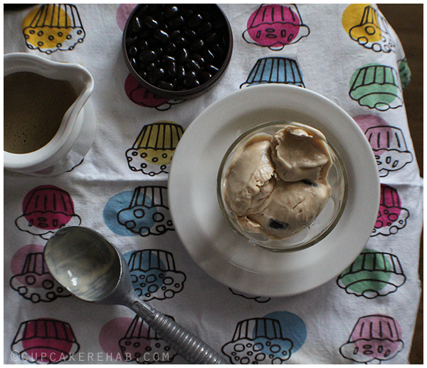 Peanut butter affogato. With dark chocolate covered espresso beans, of course!
