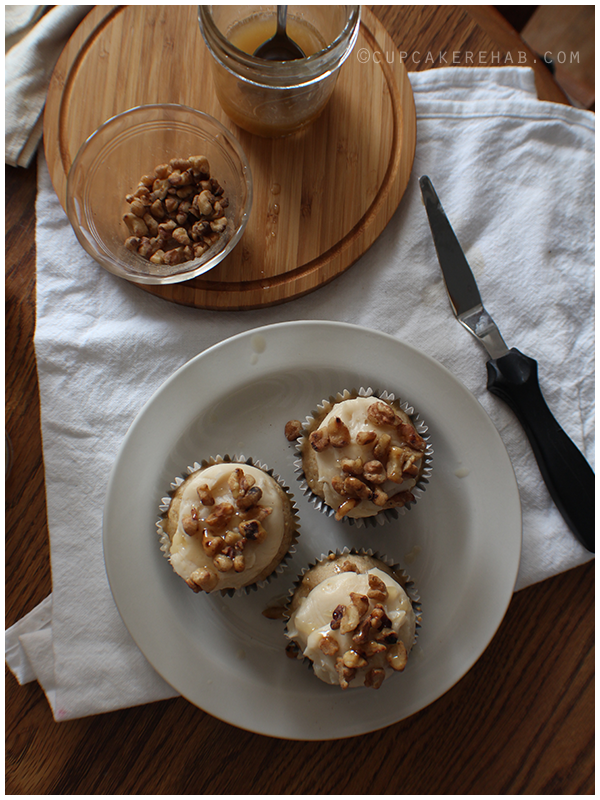 Maple cupcakes with maple butercream, toasted walnuts and a maple rye whiskey butter glaze.