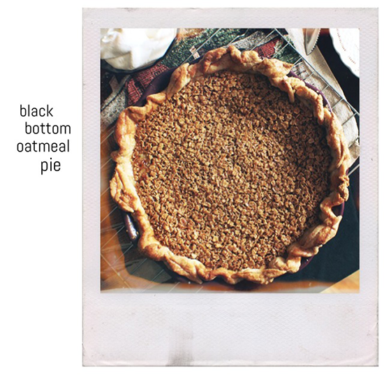 Black bottom oatmeal pie recipe from Four and Twenty Blackbirds pie shop.