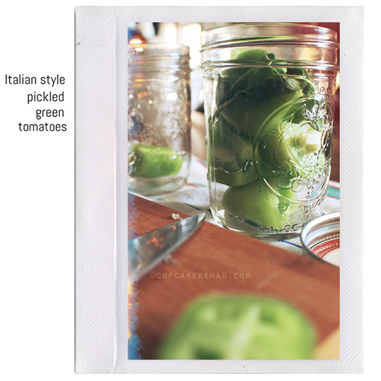 Italian style pickled green tomatoes.