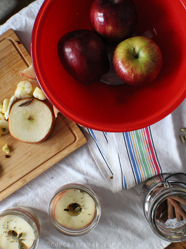 Spiced canned apple rings.