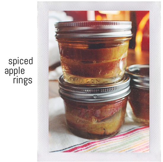 Canned spiced apple rings.