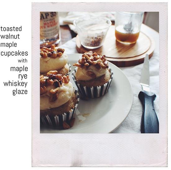 Toasted walnut maple cupcakes! With a maple rye whiskey glaze!