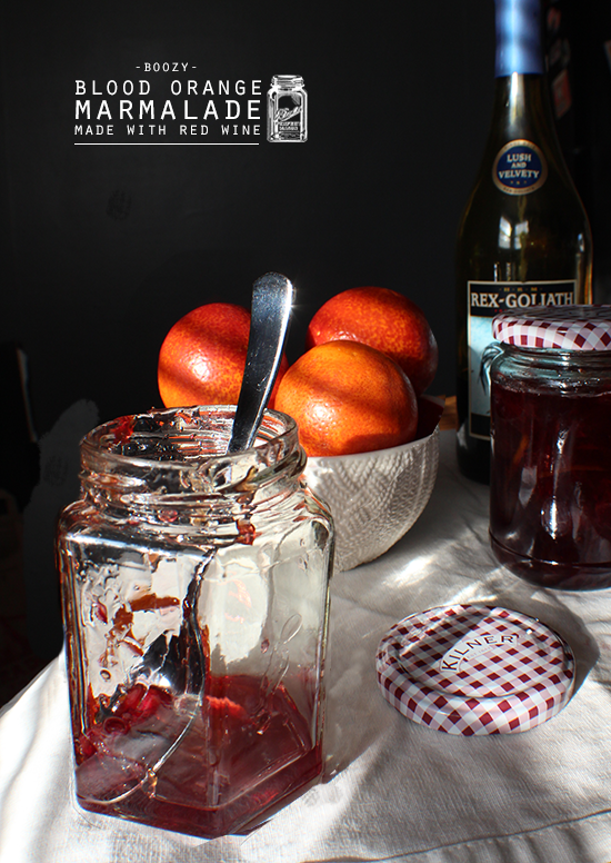 Boozy blood orange marmalade made with red wine.