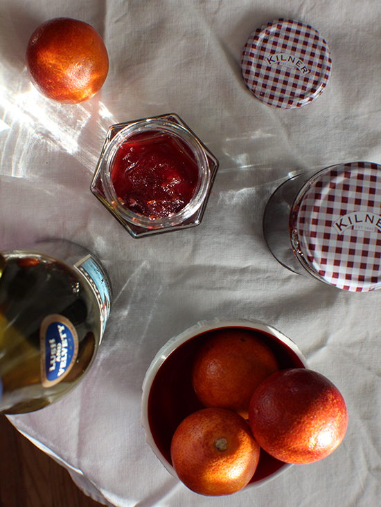 Blood orange marmalade with red wine.