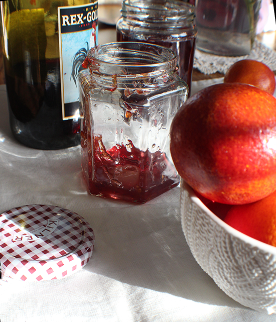 Boozy blood orange marmalade with red wine.
