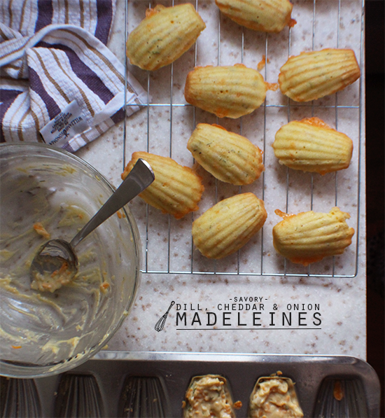 Cheddar, dill and onion madeleines.