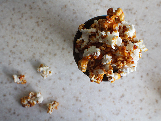 Popcorn with a caramel sauce made from Jameson Irish Whiskey.
