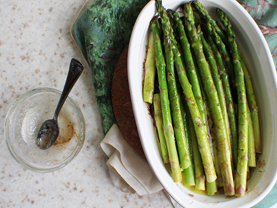 Roasted asparagus with brown butter balsamic vinegar sauce.