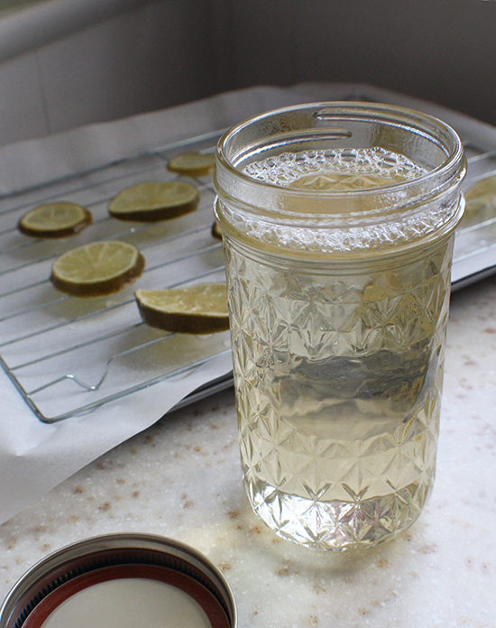 Lime simple syrup, left over from making candied limes.