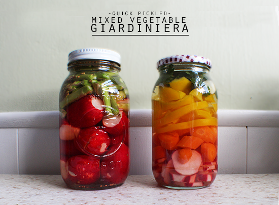 Mixed vegetable giardiniera for spring.