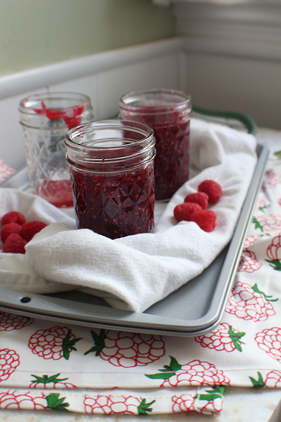 Small-batch raspberry cinnamon basil jam.