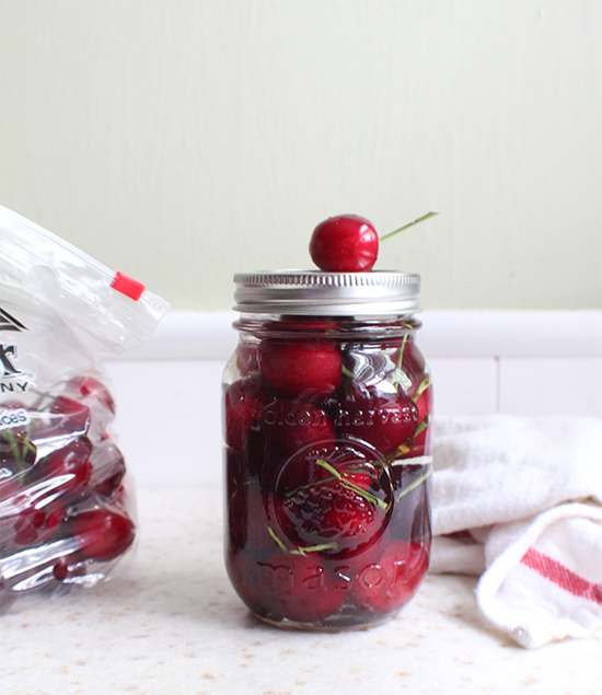 Cherries in a light almond-flavored syrup. #sweetpreservation