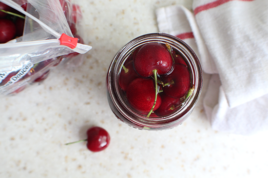 Fresh Rainier Co. cherries in a light almond-y syrup.