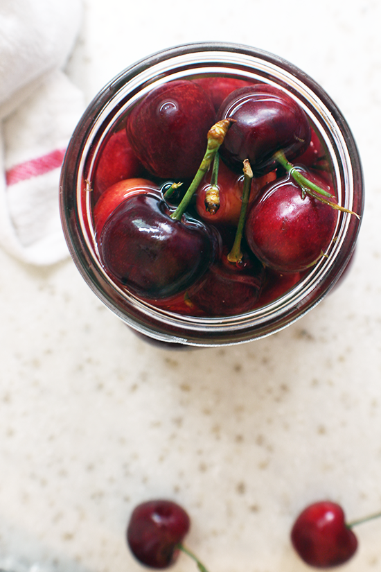 Cherries in a light almond syrup. #sweetpreservation