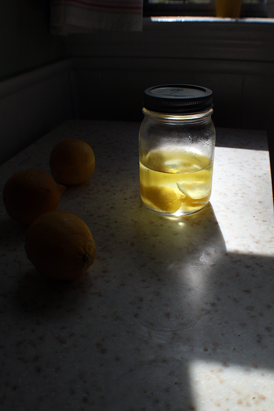 DIY lemon infused vodka.