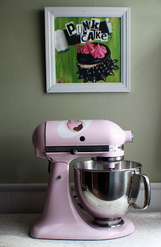 Lola the mixer, at home.