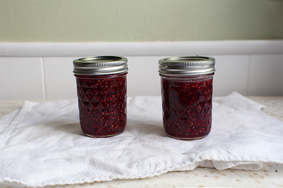 Small batch raspberry cinnamon basil jam.