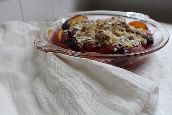 Triple stone fruit breakfast crisp with peaches, plums and cherries.