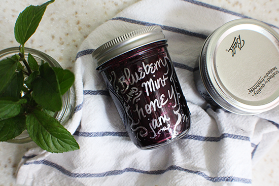 Blueberry and mint honey jam.