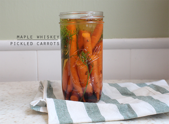 Maple whiskey pickled carrots.