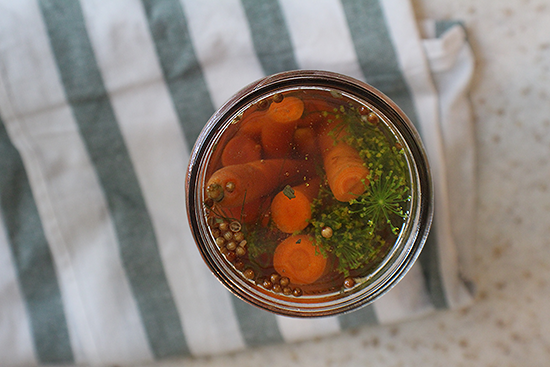 Pickled carrots- maple whiskey flavor.