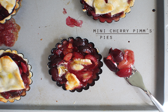 Mini cherry pies with Pimm's liqueur.