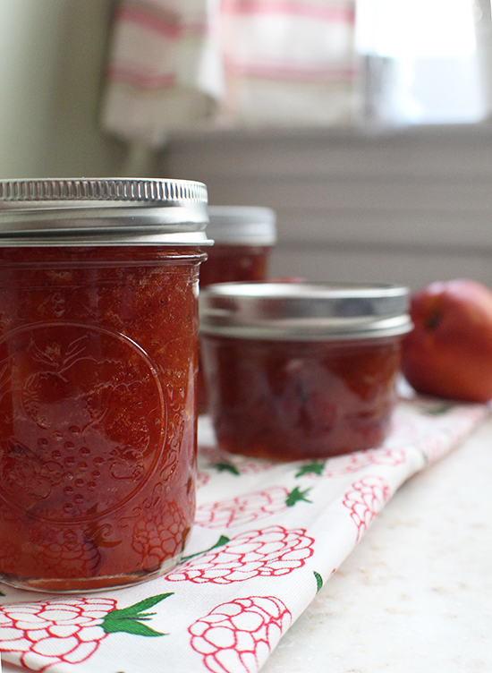Spiced nectarine jam with vanilla bean, cinnamon and star anise.