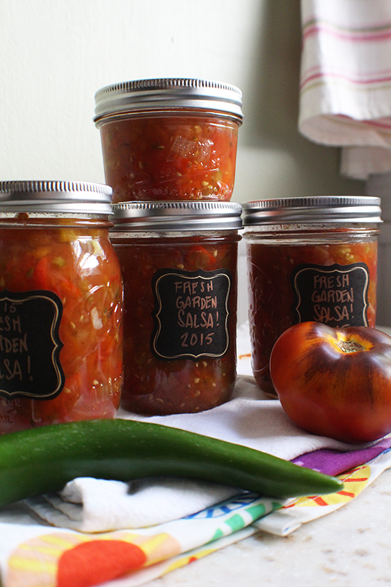 Fresh canned garden salsa.