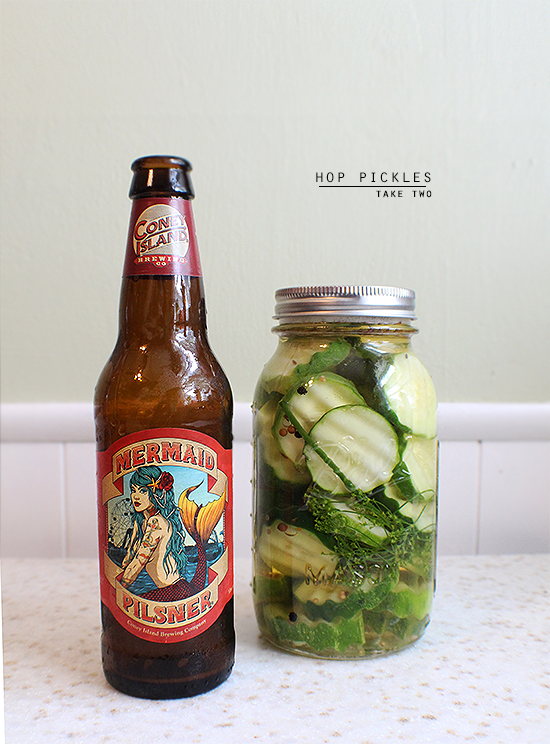Hop pickles made with Coney Island Brewing Co. Mermaid Pilsner.