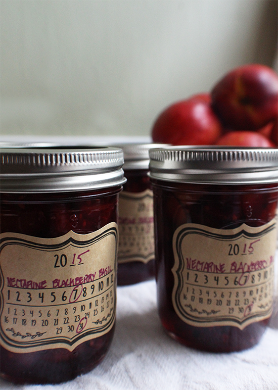 Nectarine blackberry purple basil preserves.