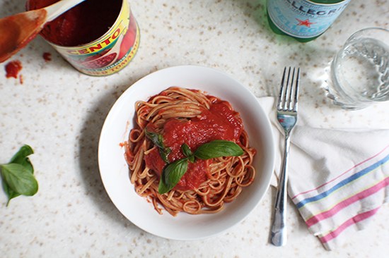 Simple, fresh and easy summer tomato sauce. Adapted from a recipe by Marcella Hazan.