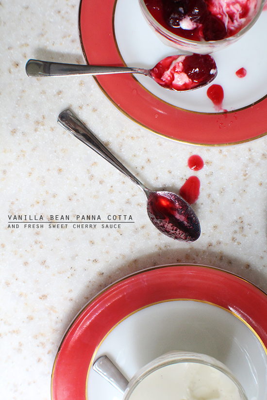 Vanilla bean panna cotta with fresh sweet cherry sauce.
