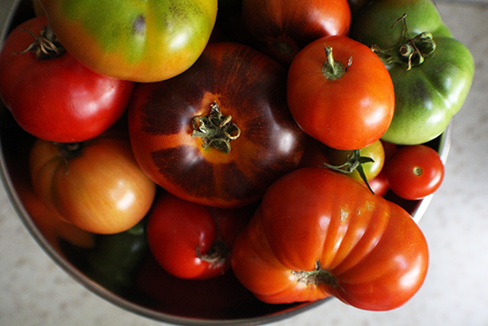 Weighing tomatoes for some fresh garden salsa.