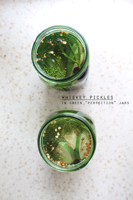 "Whiskey pickles in green ""Perfection"" limited edition Ball jars."