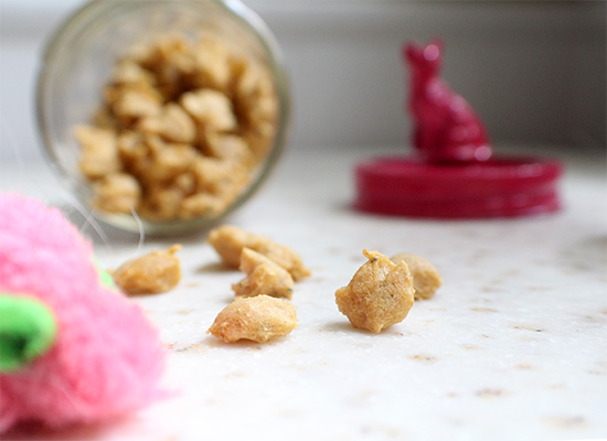 Brown rice flour & catnip treats for cats! Plus a DIY gift jar.