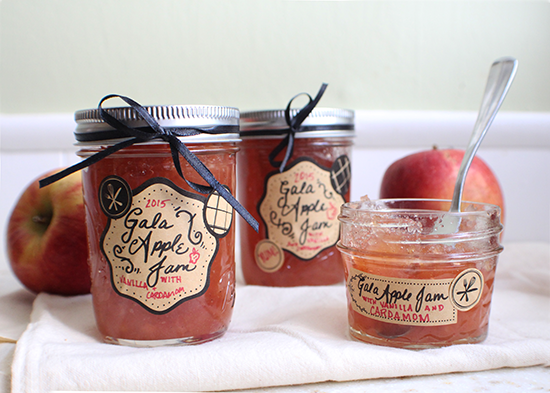 Gala apple jam; not too apple-pie-ish, made with vanilla and cardamom.
