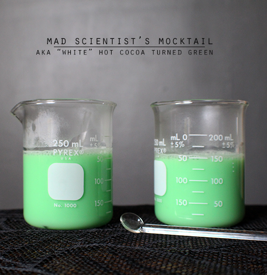 Mad Scientist's Cocktail- aka white hot chocolate turned green!